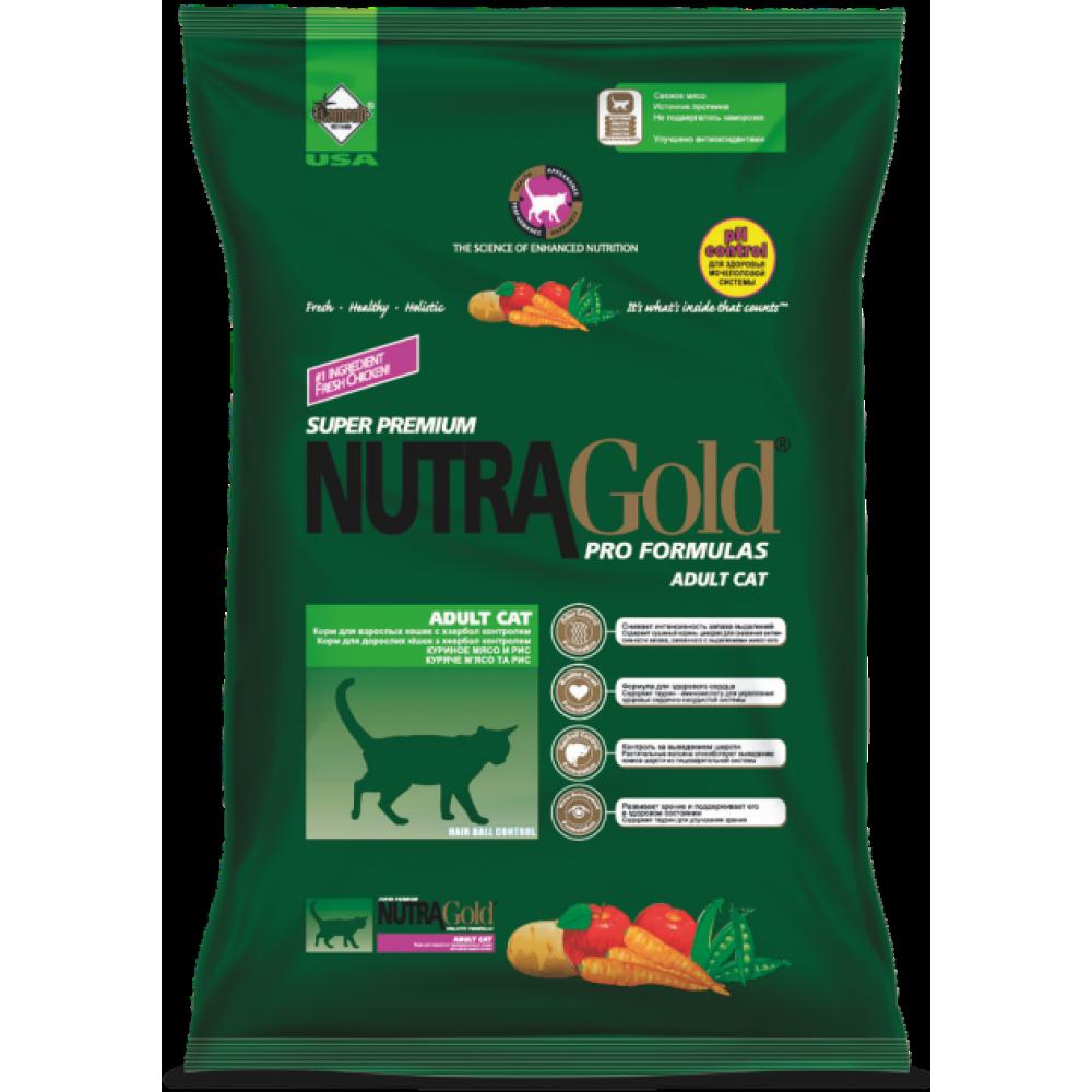 Nutra Gold (Нутра Голд) Hairball Корм для котов с курицей и выводом шерсти