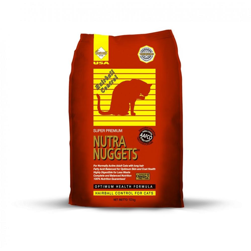 Nutra Nuggets (Нутра Наггетс) Hairball Корм для кошек с курицей и выводом шерсти