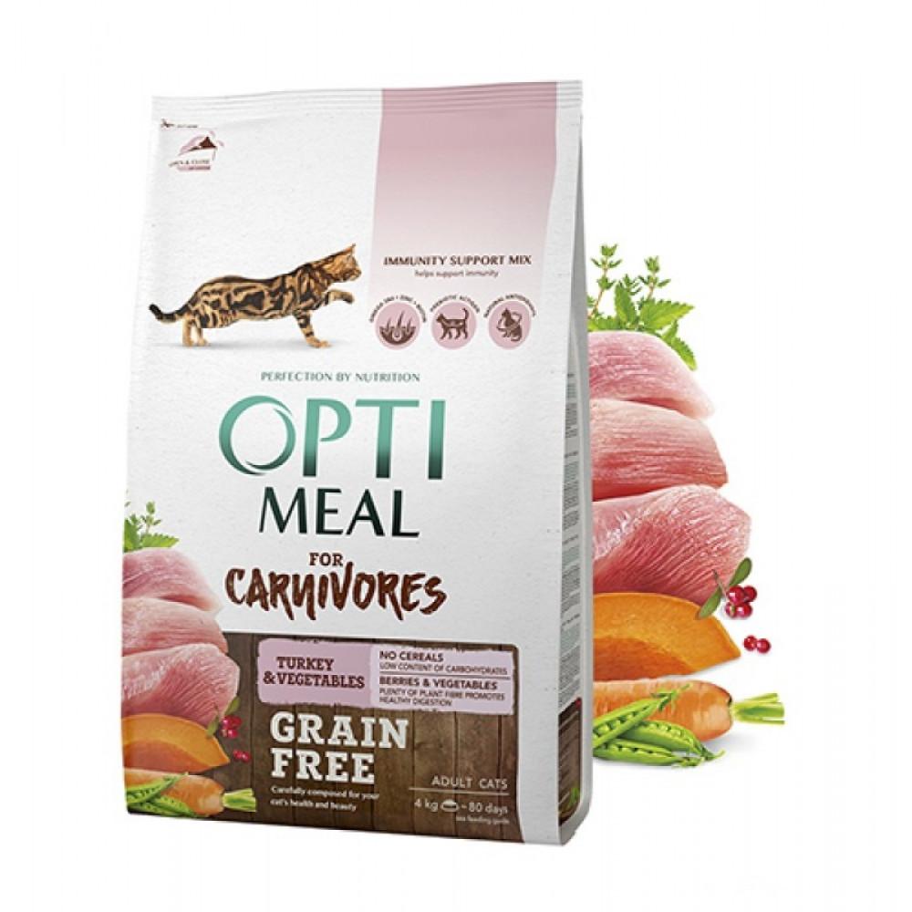 Оптимил корм для кошек беззерновой с индейкой и овощами 4 кг