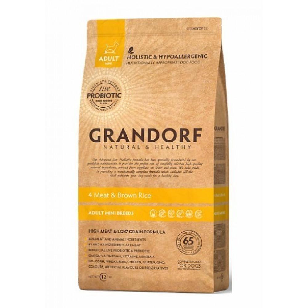 Grandorf 4 Meat & Brown Rice Adult Mini Сухой корм для взрослых собак малых пород 3 кг
