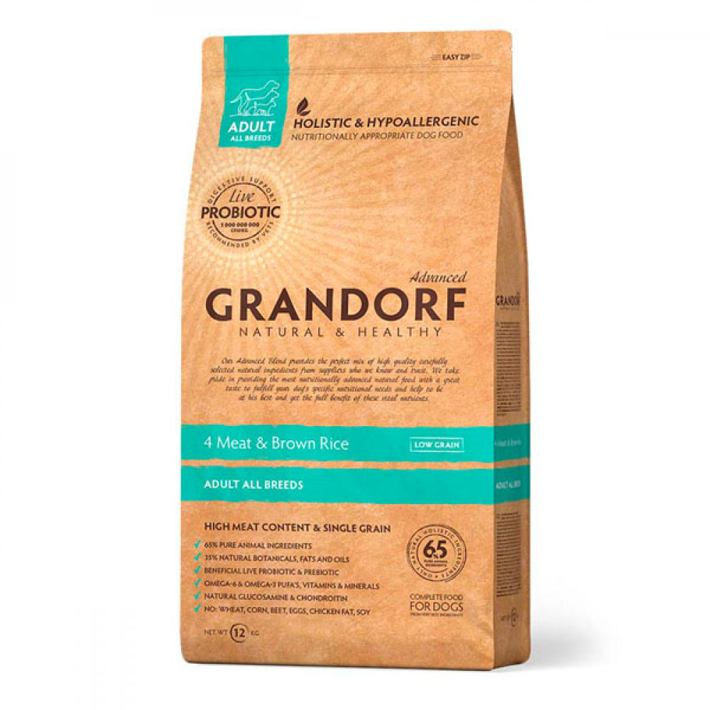 Grandorf 4 Meat&Brown Rice Adult All Breeds Сухой корм 4 вида мяса для взрослых собак всех пород 12 кг