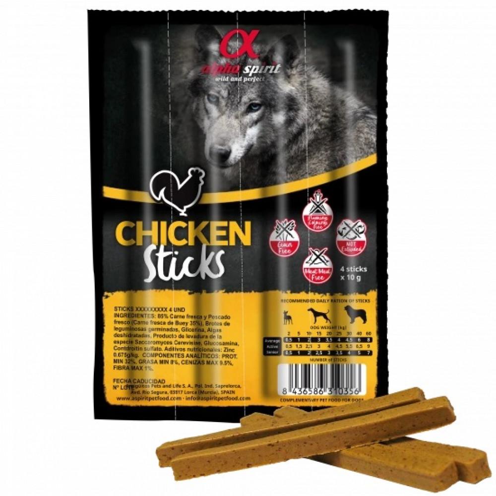 Alpha Spirit Dog Sticks Chicken полувлажные лакомства из курицы, кубики
