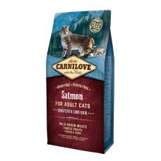 Carnilove Cat Salmon - Sensitive & Long Hair сухой корм для кошек с чувствительным пищеварением и длинной шерстью