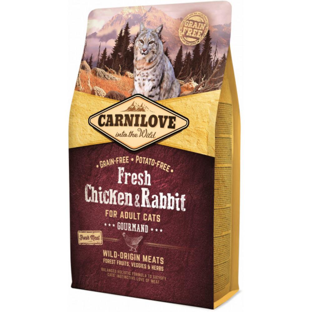 Carnilove Fresh Chicken & Rabbit - Gourmand сухой корм для кошек свежая курица