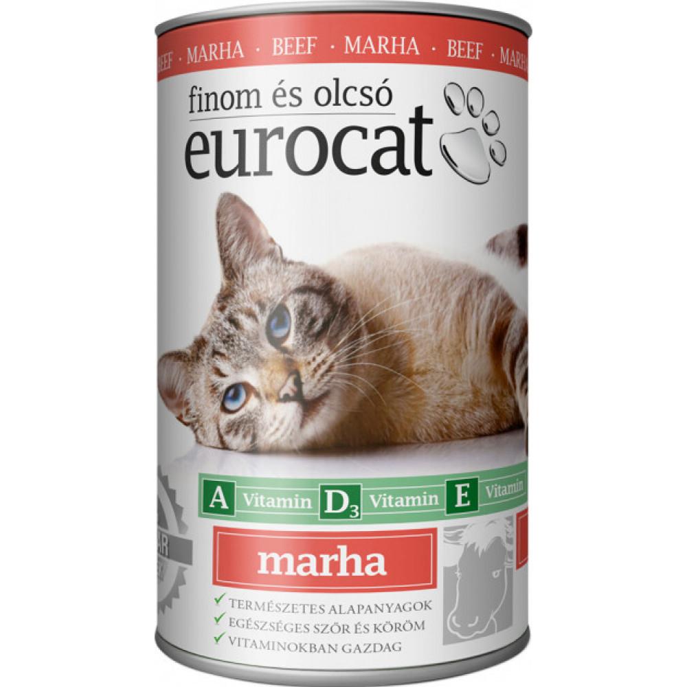 EuroCat консервы для кошек со вкусом говядины 415г