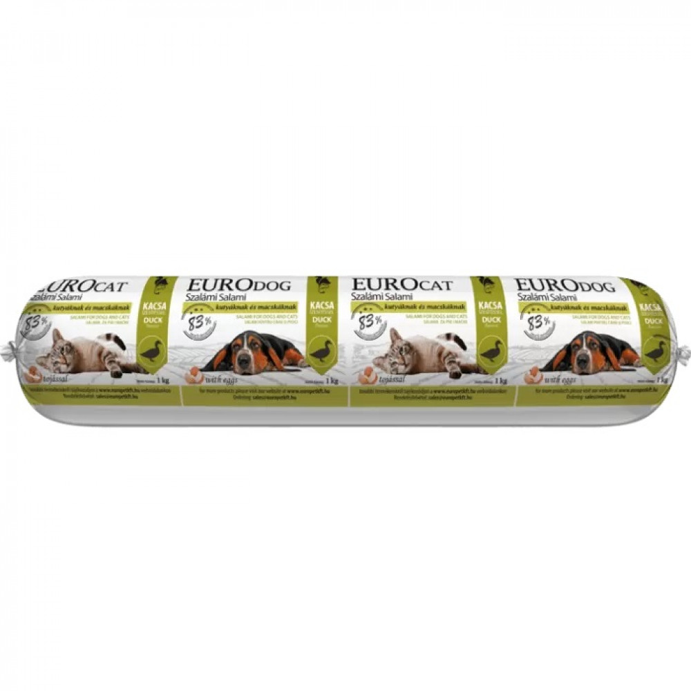 EuroPet Премиум Плюс, колбаса салями со вкусом утки для собак и кошек 1 кг