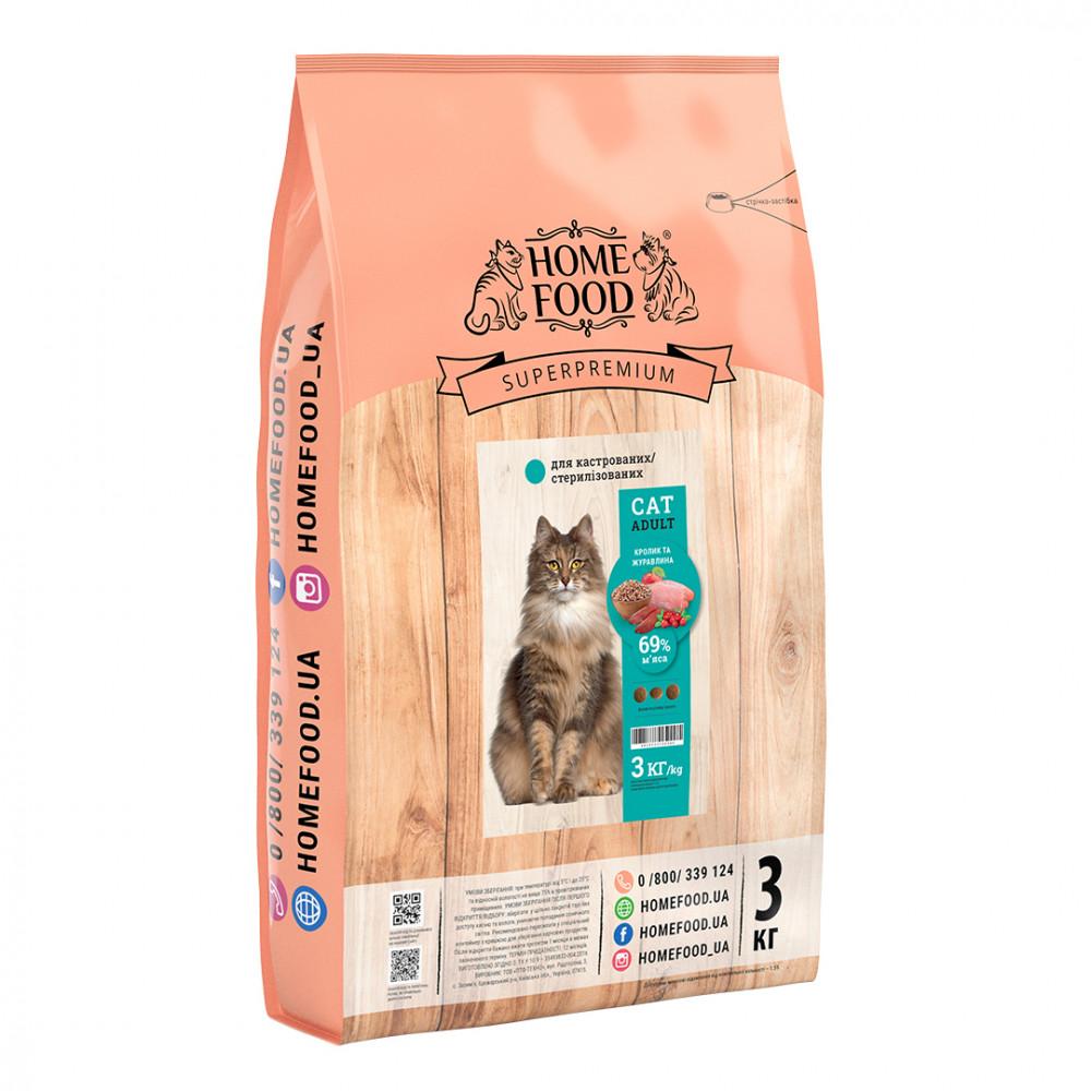 Home Food Корм для стерилизованных котов с кроликом и клюквой