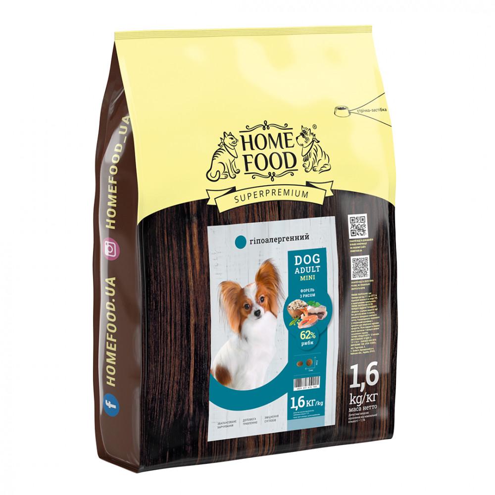 Home Food Dog Adult Mini гипоаллергенный сухой корм для взрослых собак малых пород форель с рисом