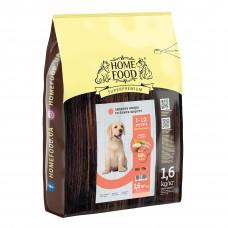 Home Food Puppy Medium Maxi cухой корм для щенков средних и крупных пород здоровая кожа и блеск шерсти индейка и лосось