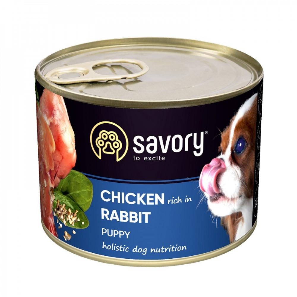 Влажный корм для щенков Savory с кроликом и курицей