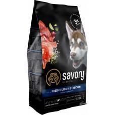 Сухой корм Savory для щенков крупных пород  со свежим мясом индейки и курицы